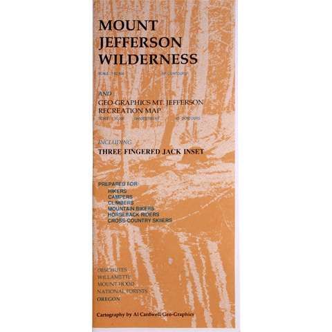 photo: Geo-Graphics Mount Jefferson Wilderness Map us pacific states paper map